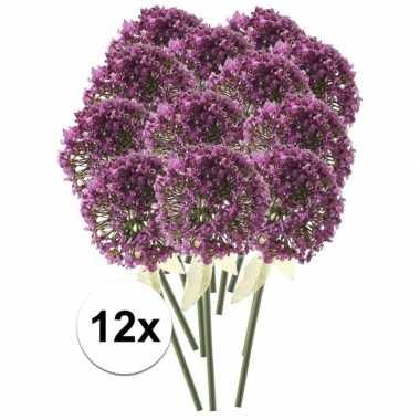 12 x kunstbloemen steelbloem roze/paarse sierui 70 cm