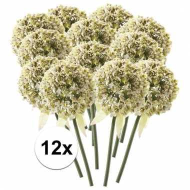 12 x kunstbloemen steelbloem witte sierui 70 cm