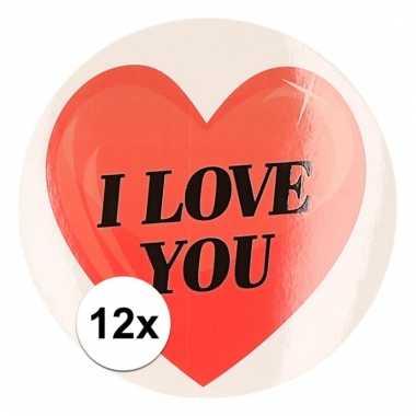 12 x valentijnskado stickers i love you hartje 9 cm