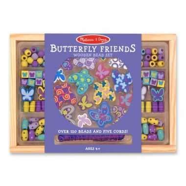 120-delige kralenset van hout vlindertjes