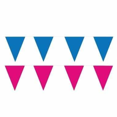 120 meter roze/blauwe buitenvlaggetjes