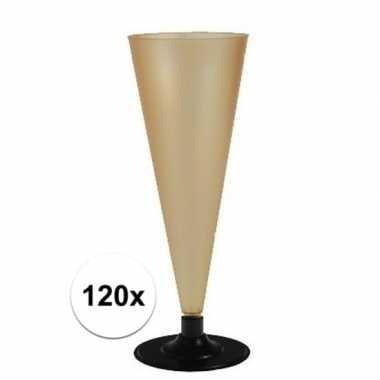 120 x champagne/prosecco glazen goud