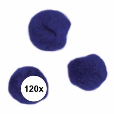 120x hobby pompons 15 mm donkerblauw