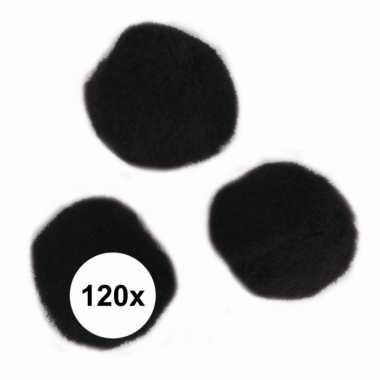 120x hobby pompons 15 mm zwart
