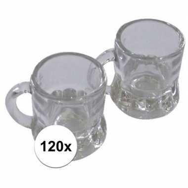 120x shotglas bierpul met handvat 4 cm