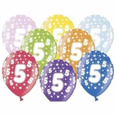 12x 5 jaar thema ballonnen met sterren