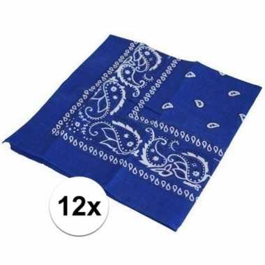 12x blauwe boeren zakdoeken