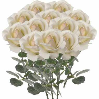 12x creme witte kunstroos kunstbloemen 37 cm decoratie