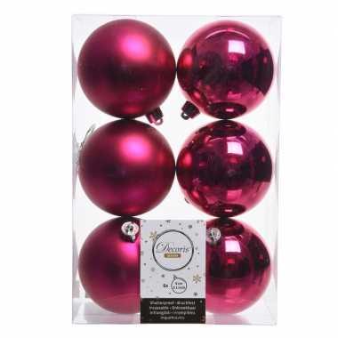 12x fuchsia roze kerstballen van kunststof 8 cm