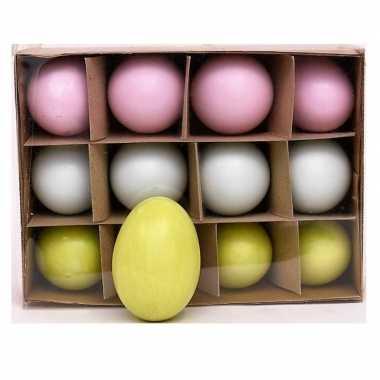 12x gekleurde ganzen eieren paasdecoratie