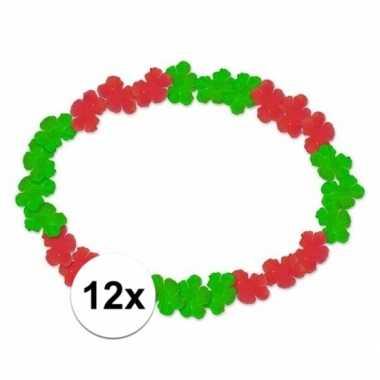 12x hawaii ketting/slinger/krans portugal rood/groen