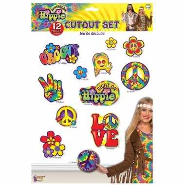 12x hippie decoratieborden