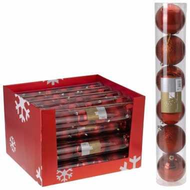 12x kerstballen- pakket rood 7 cm