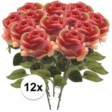 12x kunstbloemen steelbloem roze roos 45 cm