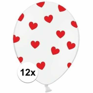 12x witte ballonnen met rode hartjes 12 x