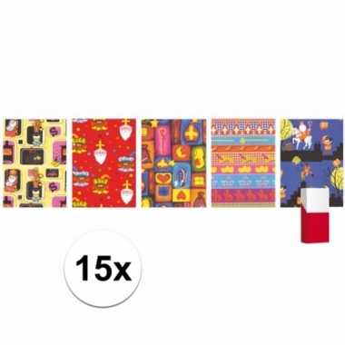 15 rollen sinterklaas inpakpapier / cadeaupapier