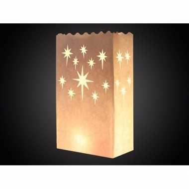 15x papieren candle bags met sterren print 26 cm