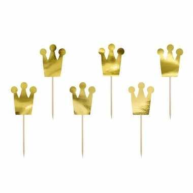 18x prinsessen kroontje feest prikkertjes 18 cm