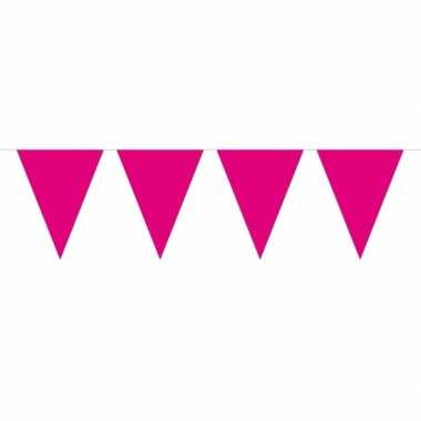 1x mini vlaggetjeslijn slingers fuchsia roze 300 cm