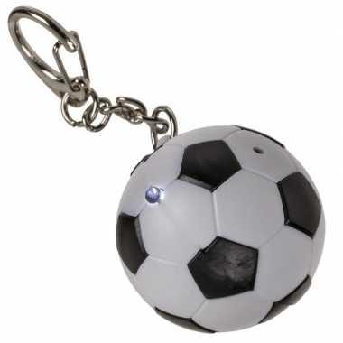 1x sleutelhanger voetballetje met licht en geluid 3,5 cm