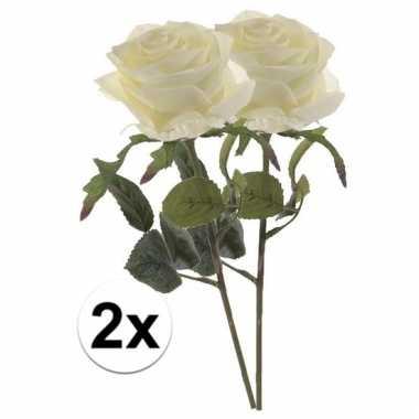 2 x kunstbloemen steelbloem witte roos simone 45 cm