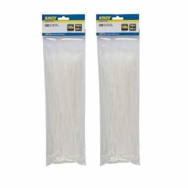 200 stuks kabelbinders / tie wraps 3,6 x 300 mm wit