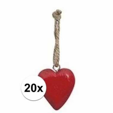 20x rood hartje aan hanger 5 cm