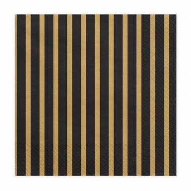 20x zwart/goud gestreepte servetten 33 cm