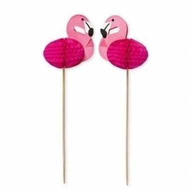 24x houten feestprikkers/partyprikkers flamingo 15 cm
