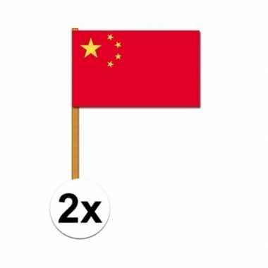 2x china zwaaivlaggetjes