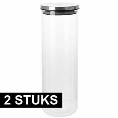2x glazen luxe voorraadbus 31 cm