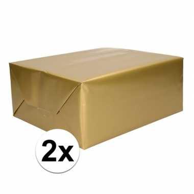 2x kadopapier gouden 70 x 200 cm
