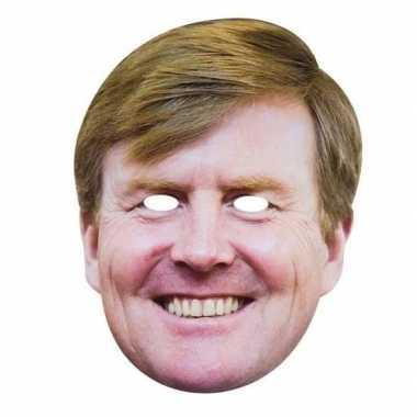2x koningsdag verkleedaccessoire willem alexander masker van karton