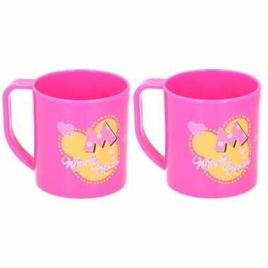 2x minnie mouse disney mokken roze