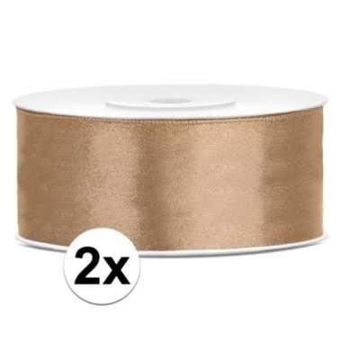2x rollen cadeaulint goud 25 mm