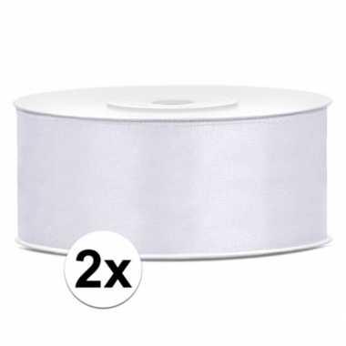 2x rollen cadeaulint wit van 25 mm