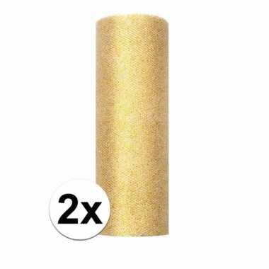 2x rollen gouden tule stof met glitters 15 cm breed