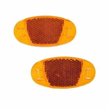 2x spaakreflectoren / fiets reflectoren oranje