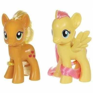 2x speelgoed my little pony plastic figuren applejack/fluttershy