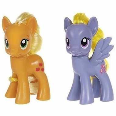 2x speelgoed my little pony plastic figuren applejack/lily blossom