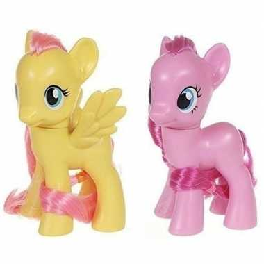 2x speelgoed my little pony plastic figuren fluttershy/pinkie pie