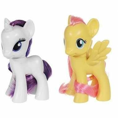2x speelgoed my little pony plastic figuren rarity/fluttershy