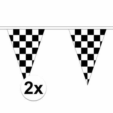 2x stuks finish slingers met puntvlaggetjes van 5 meter