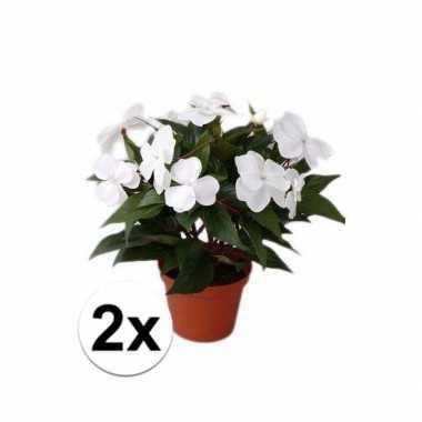 2x stuks kunstplanten witte vlijtig liesje heester van 25 cm