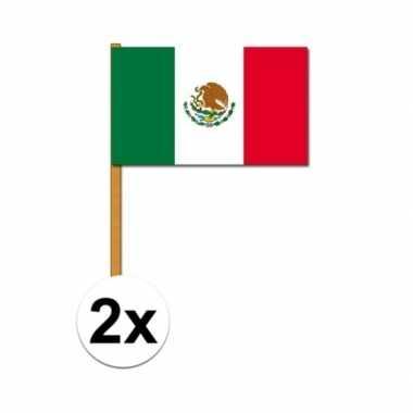 2x stuks mexico zwaaivlaggetjes