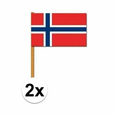 2x stuks noorwegen zwaaivlaggetjes