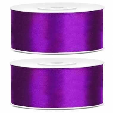 2x stuks rollen cadeaulint paars 25 mm
