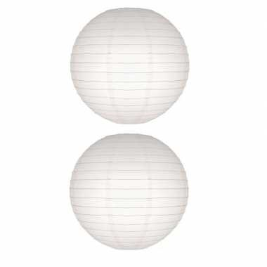 2x witte lampion rond 50 cm