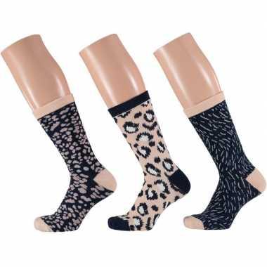 3-pak dames sokken beige/navy maat 35-42