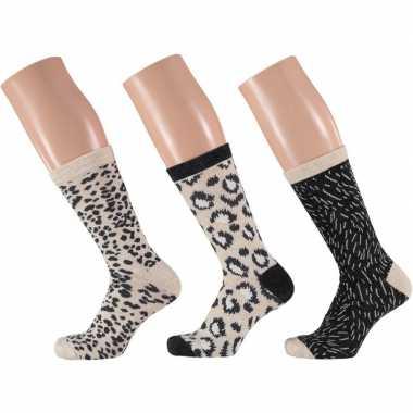 3-pak dames sokken beige/zwart maat 35-42